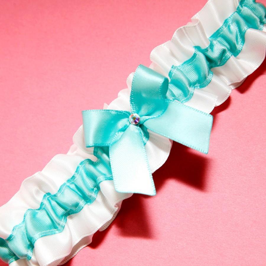 Свадьба - Wedding Garter, Boudoir Garter, Bridal Garter, Prom Garter - Simple Something Aqua Blue and Bridal White Garter Single