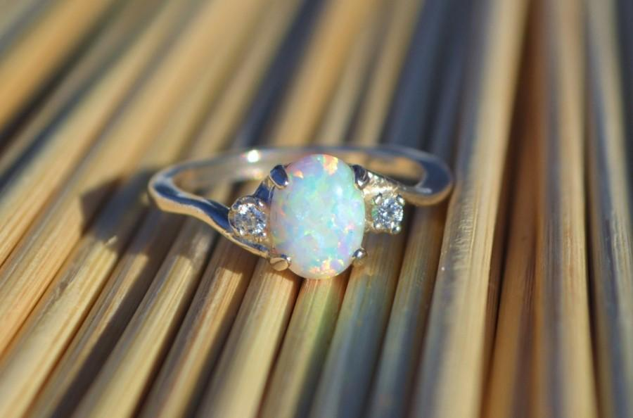 38d4152e7437ea Silver Lab Opal Ring, White Opal Ring, Opal Engagement Ring, Promise Ring, Anniversary  Gift For Her, October Birthstone