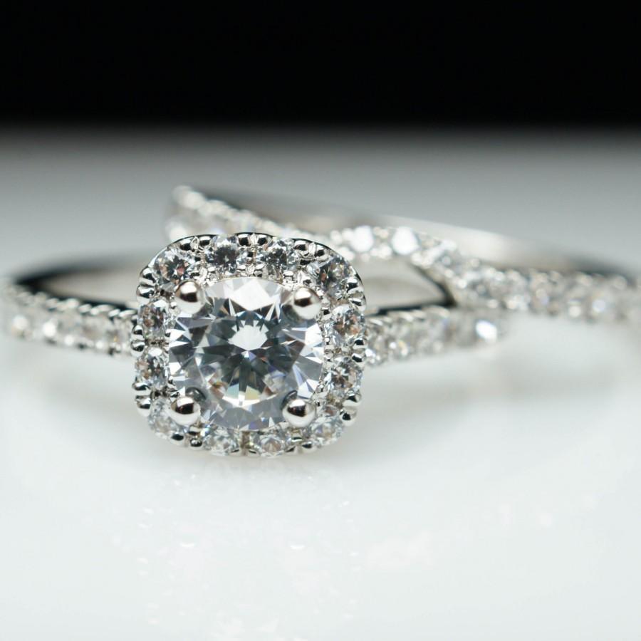 Vintage Style Cushion Halo Diamond Engagement Ring & Wedding Band Custom  Bridal Set Custom Engagementplete Wedding Set Wedding Ring