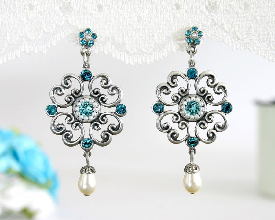 Mariage - Blue wedding earrings, Wedding earrings, Blue earrings, Blue wedding, Something blue wedding, Blue wedding jewelry, Blue dangle earrings