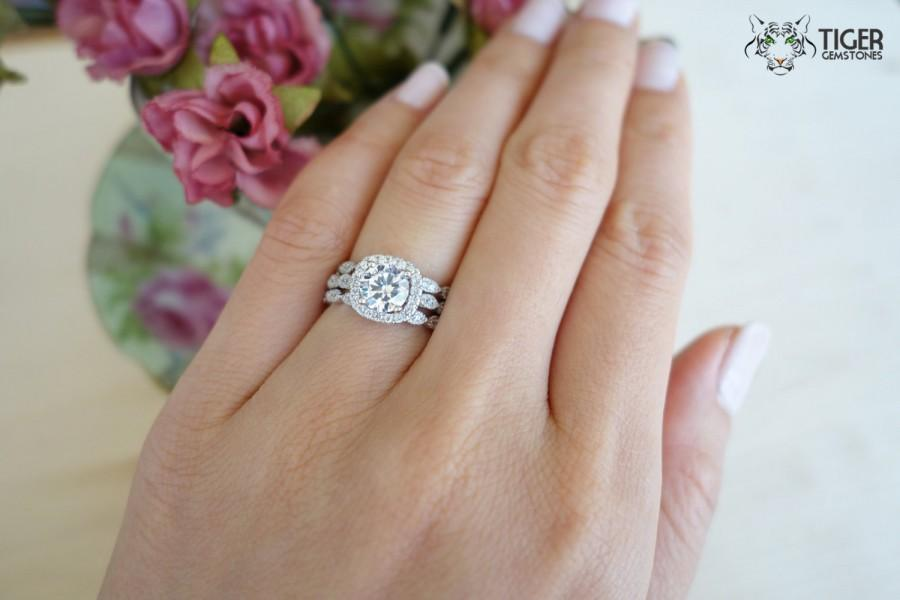 3 Band 1.25 Ctw Halo Wedding Set, Vintage Bridal Rings, Flawless Man Made  Diamond Simulants, Art Deco, Engagement Rings, Sterling Silver