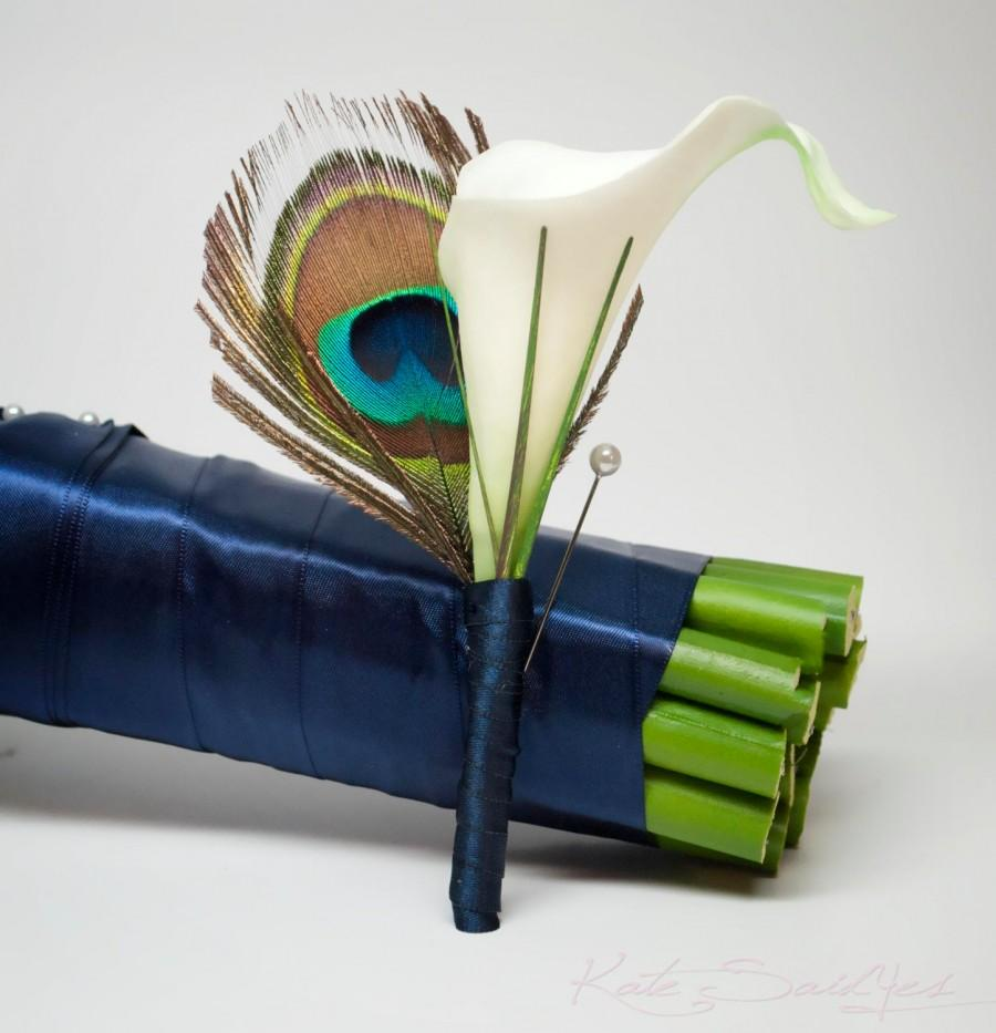Mariage - Peacock and Calla Lily Wedding Boutonniere