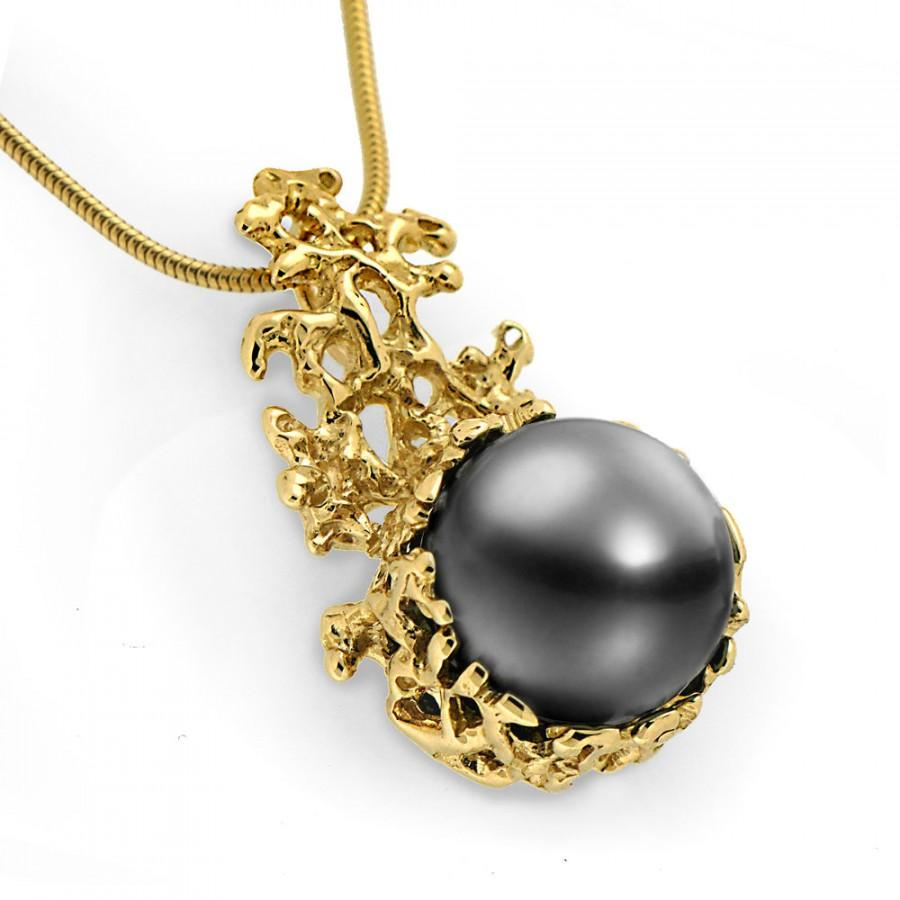 Coral 14k gold black tahitian pearl pendant necklace gold pearl coral 14k gold black tahitian pearl pendant necklace gold pearl necklace wedding black pearl pendant tahitian pearl necklace aloadofball Image collections