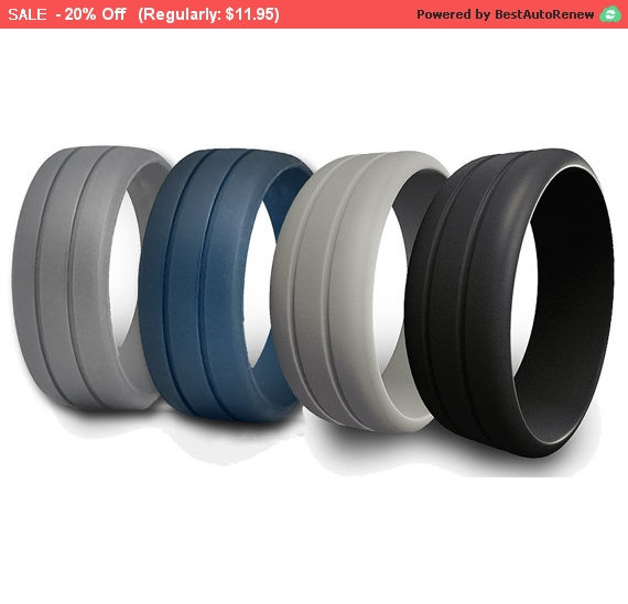 Mens Rubber Silicone Wedding Ring Band Ridged Best Quality Flexible