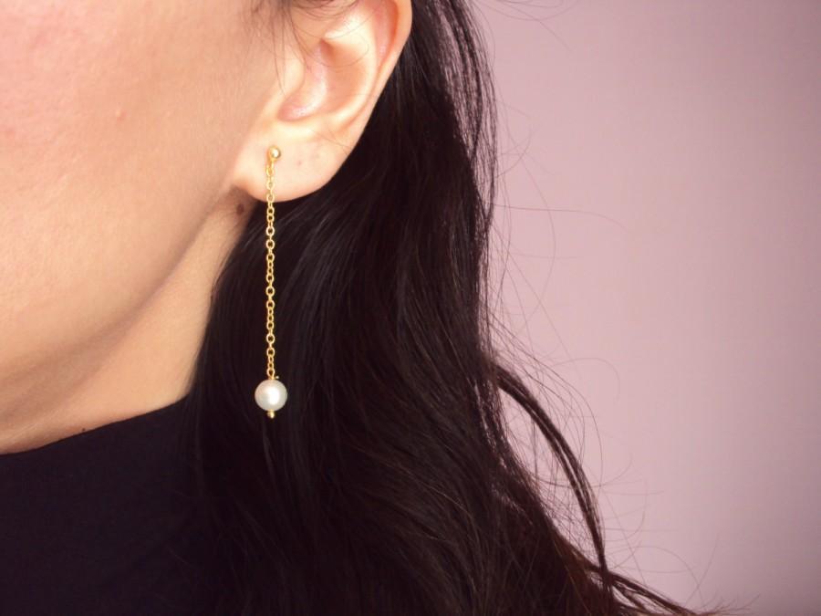 Mariage - Pearl Earrings, 14K Gold Dangle Earrings, 14K Gold White Pearl Dangle Earrings, Bridesmaid Gift, Gold Earrings, Bridal Earrings Gold