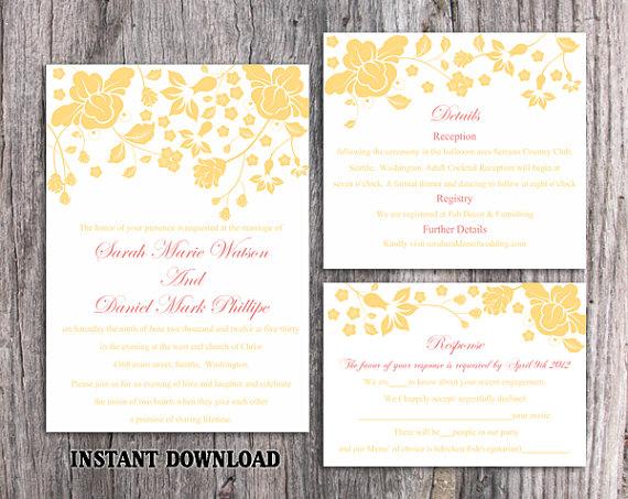 Wedding - DIY Wedding Invitation Template Set Editable Word File Instant Download Printable Invitations Floral Wedding Invitation Yellow Invitations