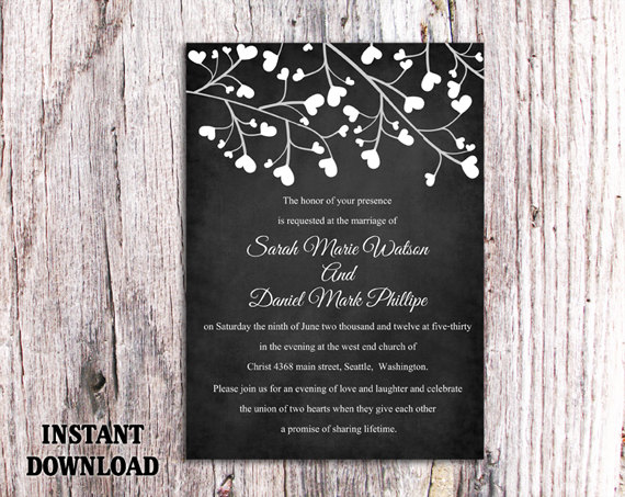 DIY Wedding Invitation Template Editable Word File Instant – Word Templates for Invitations