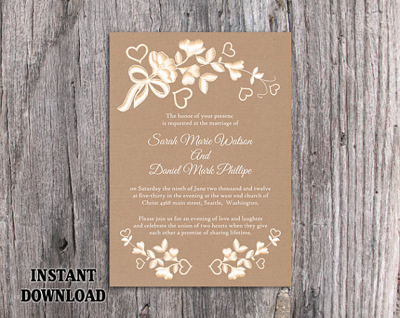 Hochzeit - DIY Lace Wedding Invitation Template Editable Word File Download Printable Rustic Wedding Invitation Burlap Vintage Floral Invitation