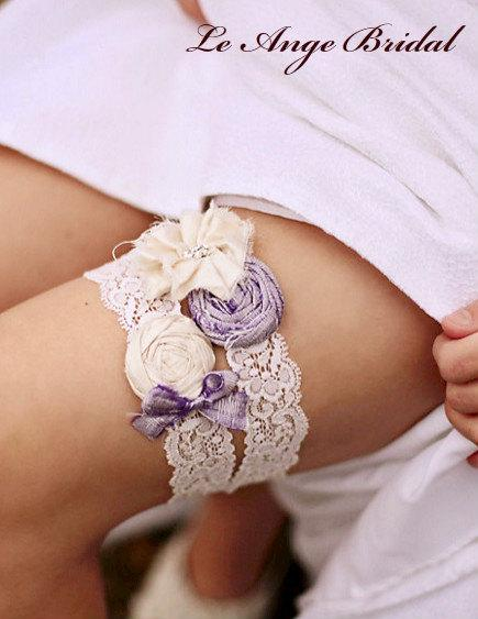 Свадьба - Free Shipping/ Silk wedding garter set in Ice Violet