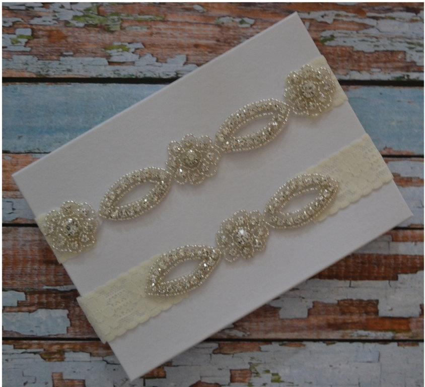 Свадьба - Wedding Garter, SALE, Wedding Garter Set, Rhinestone Bridal Garter Set, Elegant Wedding Garter Belt, Unique Bridal Garter Set