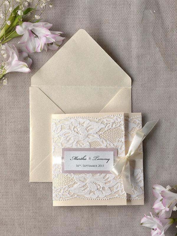 Свадьба - Ivory Lace  Wedding Invitation, Pink Wedding Invitation, Pocket Fold Wedding Invitations , Vintage Wedding invitation