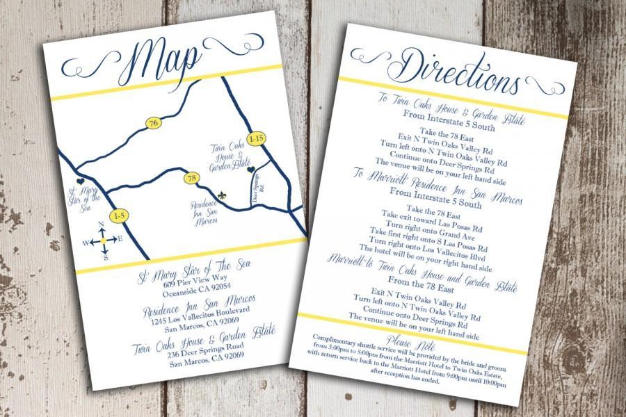 Свадьба - Custom Wedding Map and Direction Invitation Insert Printable File