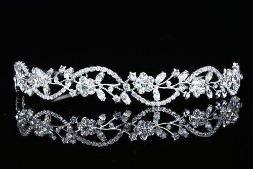 زفاف - Bridal Flower Rhinestones Crystal Wedding Headband Tiara