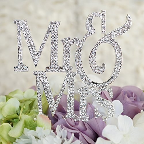 Свадьба - Mr & Mrs Monogram Silhouette Rhinestone Wedding Cake Topper