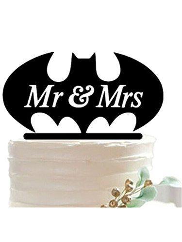 Mariage - Bat Monogram Wedding Cake Topper in Black
