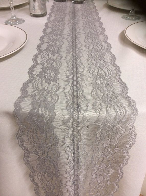 Grey weddings lace table runner 3ft 10ft long x 8in wide for 10 foot table runner