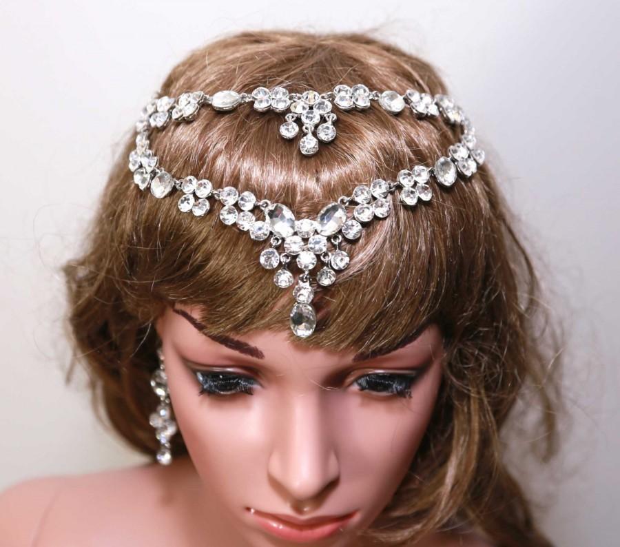 Wedding - Crystal Headpiece,Dangle Bridal Hair Chain,Vintage Forehead Hairpiece,Crystal Hair Chain,Wedding Hair Tiara, Wedding Halo Chain,Earrings Set