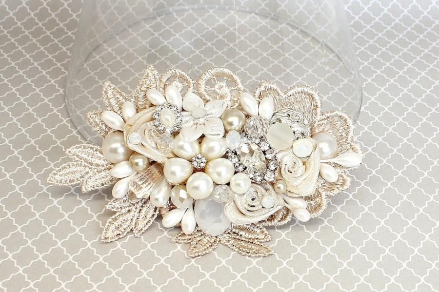 Свадьба - Champagne Hair Accessory- Bridal Hair Comb-Champagne Bridal Comb-Ivory Wedding Hair Comb-Champagne Bridal Clip-Bridal Hairpiece-Brass Boheme