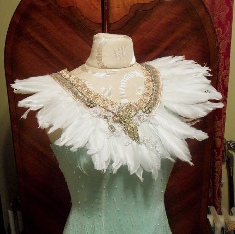 Wedding - Large Bridal Necklace, Bird of Paradise Wedding Neck Piece, White Feather Couture Collar.