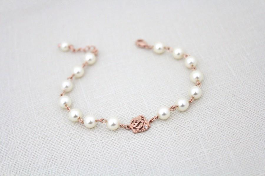 Rose Gold Bridal Bracelet, Rose Gold Bridesmaid Bracelet, Pearl ...