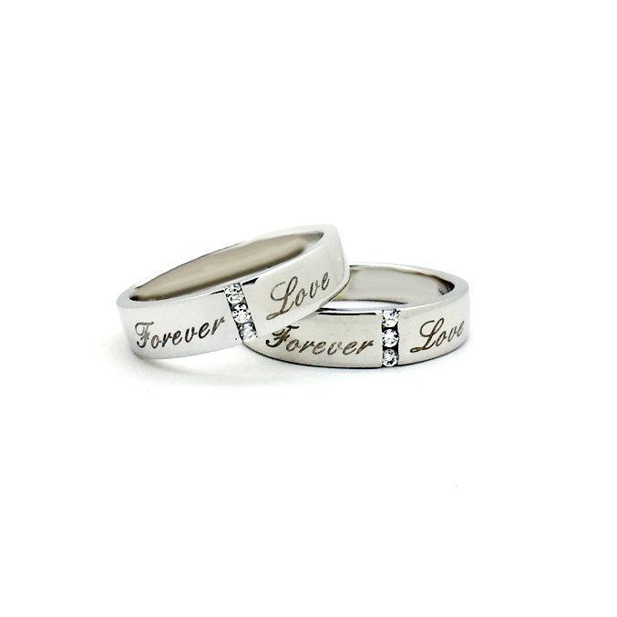 زفاف - Personalized Matching Promise Rings Couples Wedding Bands for 2