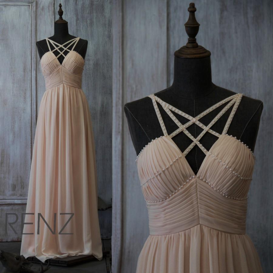 Hochzeit - 2015 Blush Bridesmaid dress Beaded dress, Chiffon Wedding dress, Pleated Formal dress, Spaghetti Strap Maxi dress floor length (F033A)