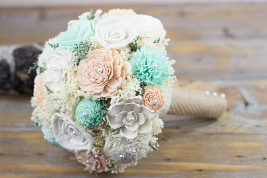 Mariage - Wedding Bouquet,Romantic Bridal Bouquet,Peach,Mint,Ivory Sola Flower Bridal Bouquet,Keepsake Bouquet,Woodland Bouquet,Handmade Bouquet