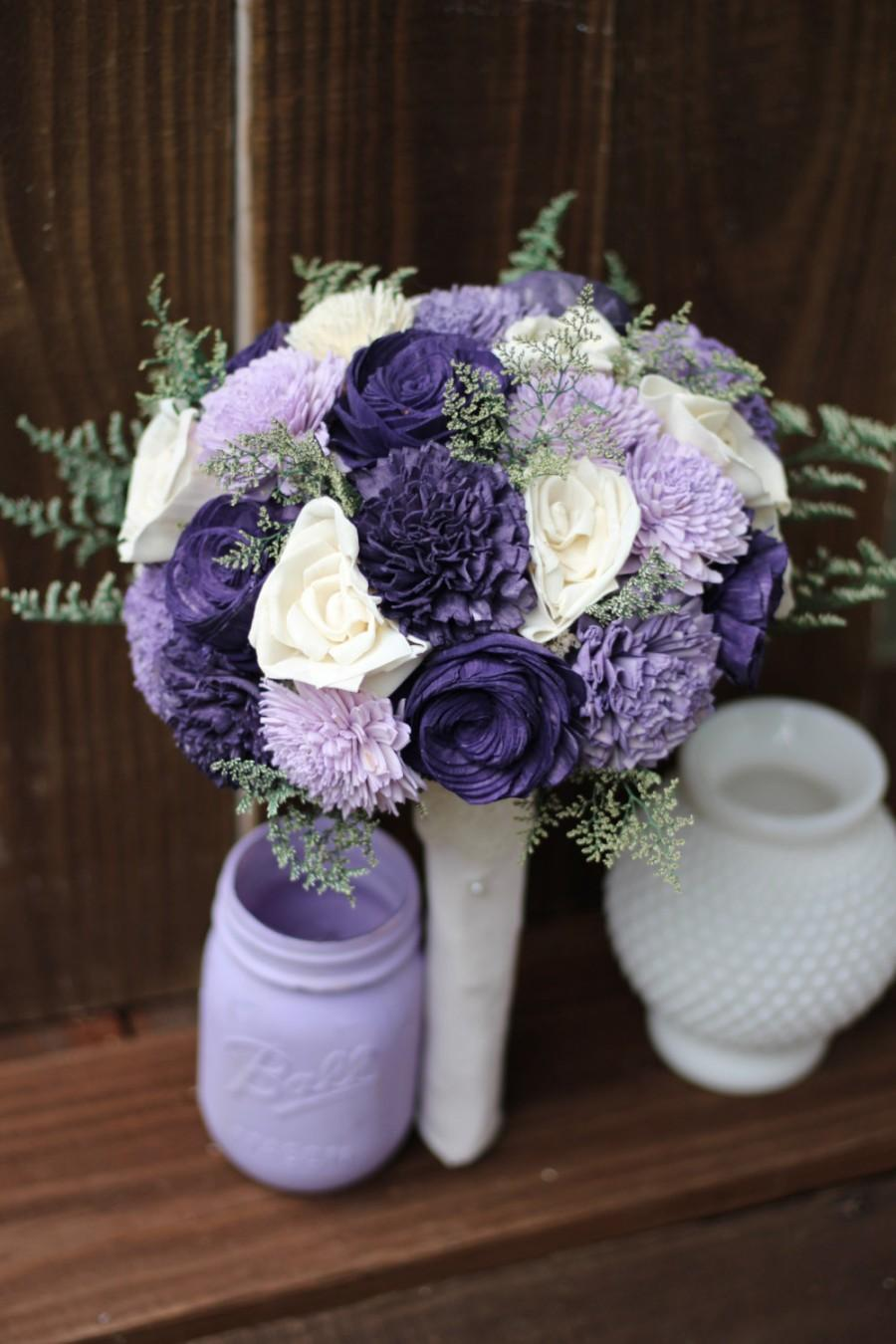 Sola Bouquet Rustic Wedding Purple Flowers Country