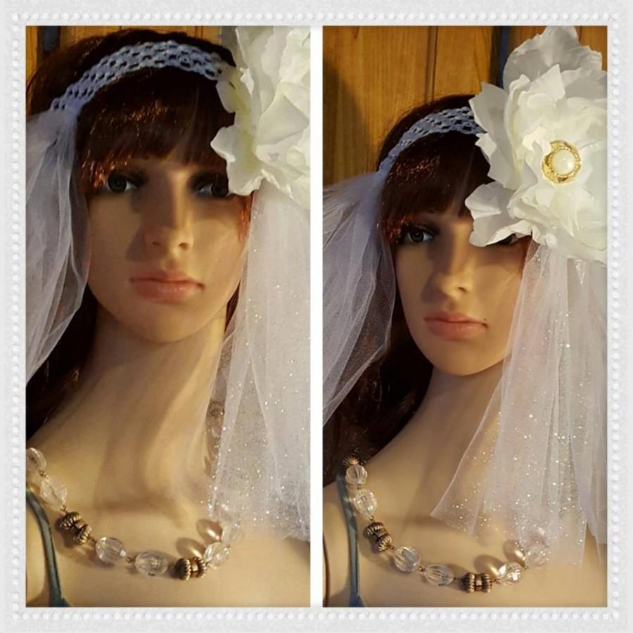 Mariage - Wedding headband veil with decortive flower