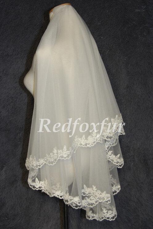 Mariage - A thin layer bridal veil wedding veil Alencon lace veil simple and elegant veil