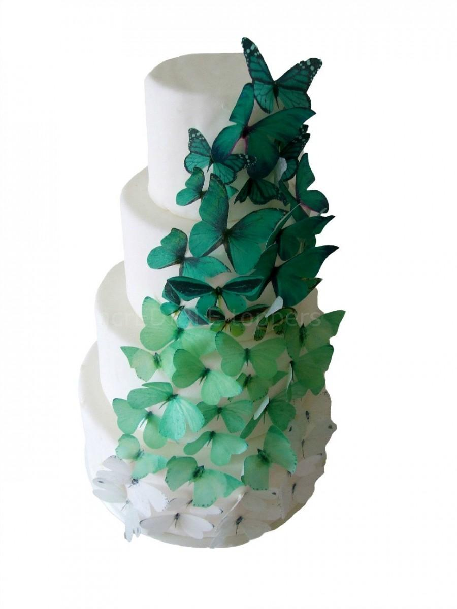 Mariage - EDIBLE CAKE TOPPERS - 40 Ombre Edible Butterflies in Green, Winter Wedding Cake, Cake Decorations, Emerald or Forest Green