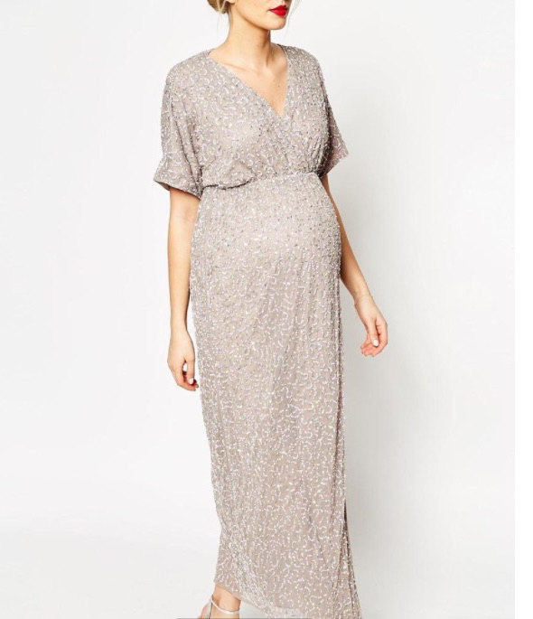 Custom Short Full Rose Gold Sequin Maternity Dress For Wedding Guest Or Bridesmaids