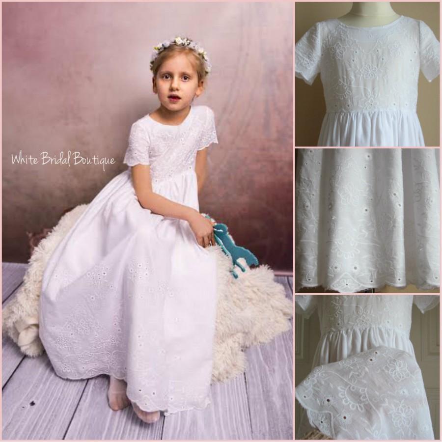 زفاف - Flower girl dress First communion dress Baptism dress Holy communion dress Junior bridesmaids dress Christening dress Embroidery girl dress