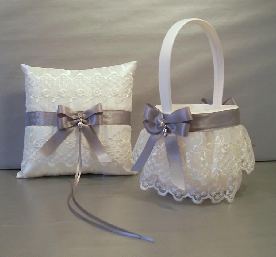 Hochzeit - Silver Gray Wedding Bridal, Flower Girl Basket and Ring Bearer Pillow Set on Ivory or White ~ Double Loop Bow & Hearts Charm ~ Allison Line