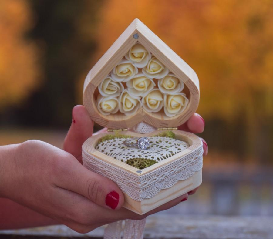 Wedding - Wonderful rustic heart ring holders wedding heart shape chest rings box wood rings holder wedding ring box