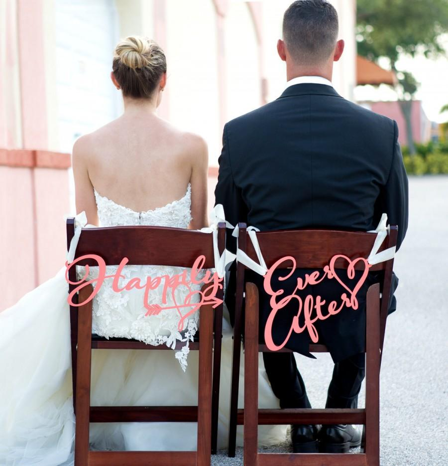 Wedding Chair Signs Happily Ever After For Chairs Bride And Groom