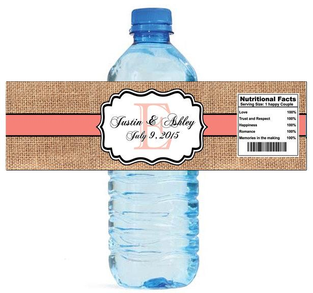 Mariage - Burlap Coral Color Stripe Monogram Wedding Water Bottle Labels Great for Engagement Bridal Shower Party 2 sizes available