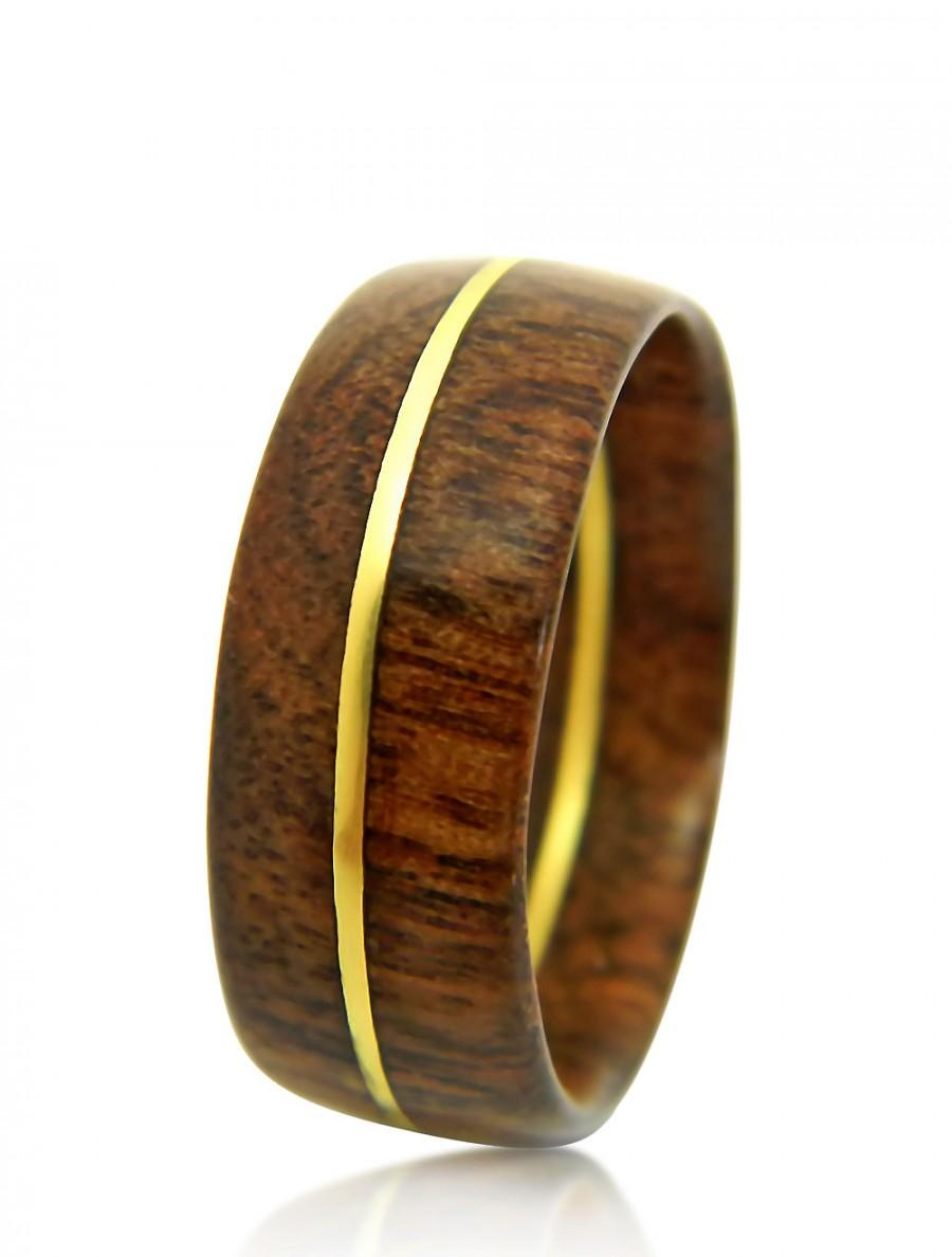 Hand Carved Walnut Ring Wedding Band Engagement Ring
