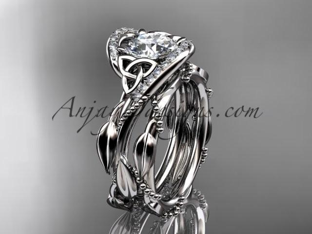 Wedding - 14kt white gold celtic trinity knot engagement set, wedding ring CT764S