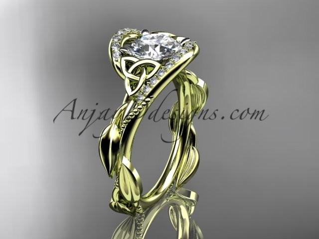 Wedding - 14kt yellow gold celtic trinity knot engagement ring , wedding ring CT764