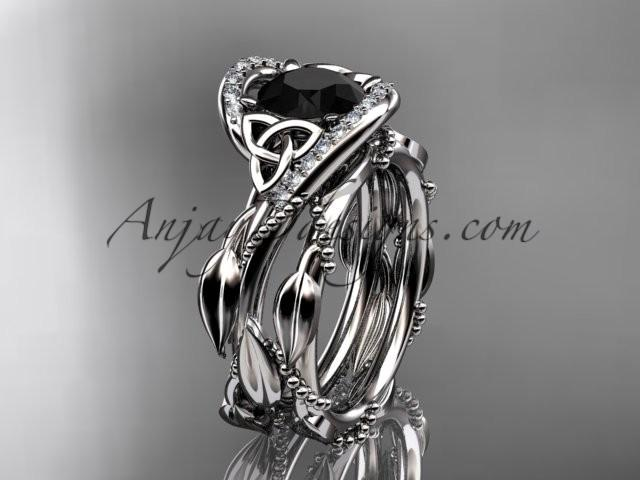 Boda - 14kt white gold celtic trinity knot engagement set, wedding ring with Black Diamond center stone CT764S