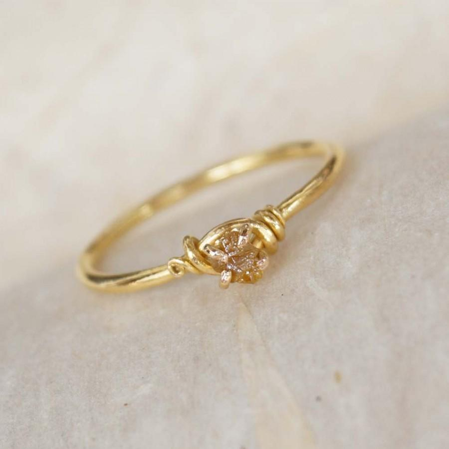Handmade Diamond Engagement Ring 18k Solid Gold Ring Wire Wrap