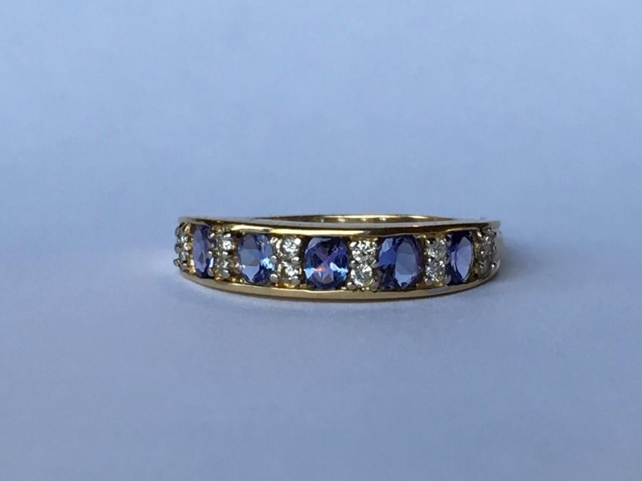 Mariage - Vintage Tanzanite Ring with Diamond Accents set in 14K Gold. Wedding Band Style Ring. Engagement Ring. December Birthstone. 24th Anniversary
