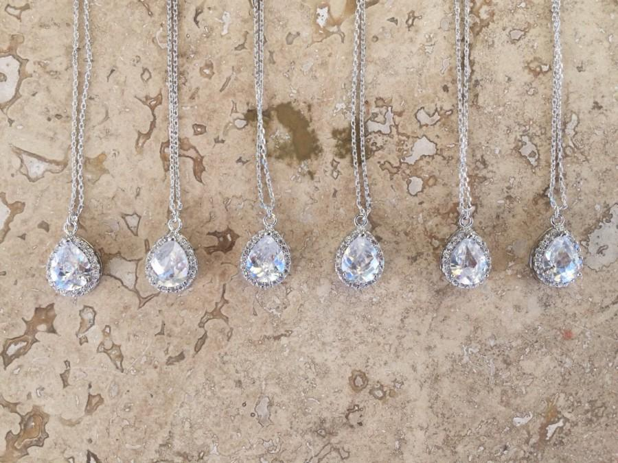 زفاف - Bridesmaid necklace set, available in smaller and larger sets. Cubic Zirconia teardrop necklace. Bridesmaid Jewelry