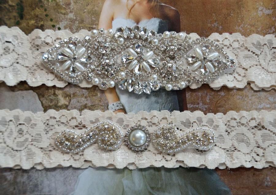 Vintage Inspired Wedding Garter Set Bridal Off White Lace Rhinestone Crystal Grace Style 10525