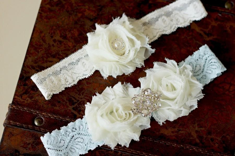 Свадьба - SALE Wedding garter, Ivory and blue garter set, Bridal garter, Vintage Wedding