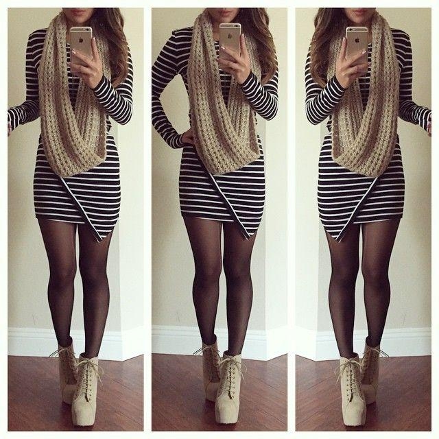 Wedding - Striped Long Sleeve Bodycon Dress