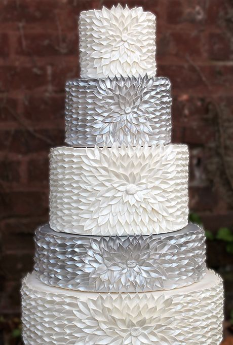 Wedding - A Five-Tier Silver And White Wedding Cake - A Five-Tier Silver And White Wedding Cake