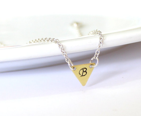 Wedding - Triangle Initial Personalized Necklace, Geometric Hand Stamped, Initial Charm, Monogram Necklace, Bow tie Charm Necklace, Initial Pendant