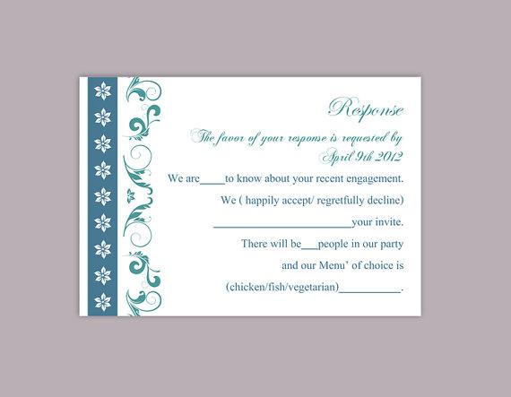 Свадьба - DIY Wedding RSVP Template Editable Word File Instant Download Rsvp Template Printable RSVP Cards Teal Blue Rsvp Card Elegant Rsvp Card